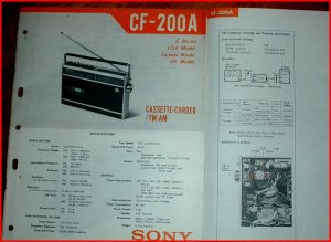 SONY Manual for AM/FM Radio Cassette CF-200A Portable