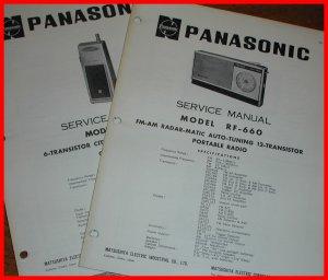2 Manuals Vintage PANASONIC AM/FM Portable Radio RF-660 TRANSCEIVER Ch11 CB R-J3