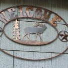 Elk Welcome Hunting Scene Rustic Sign Outdoorsmen Outdoor Decoration