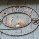 Bear Welcome Scene Rustic Sign Outdoor Cabin Hunting Outdoorsmen Lodge Decoration