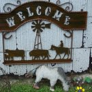 Farm Welcome Scene Rustic Sign Windmill Ranch Farmer Decoration Cattle Horse