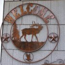 Elk Welcome Scene Rustic Sign Hunting Lodge Cabin Outdoors Deer