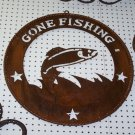 Gone Fishing Trout Scene Rustic Sign Lodge Cabin Outdoors Fish Lake Star