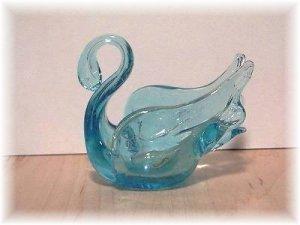 CHANTILI blue glass SWAN -  Handmade  in Canada - home decor - collectible