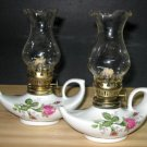 Porcelain & Crystal Oil Lamps - Pair - NEW -