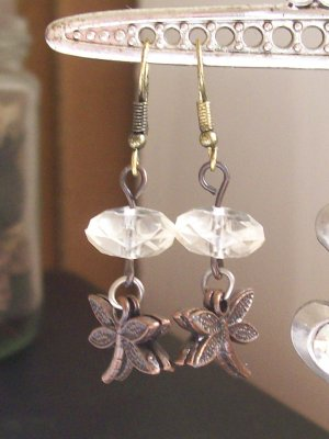 Copper and Dragonfly with Crystal Beads Earrings