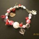 Red & White Beaded Bracelet