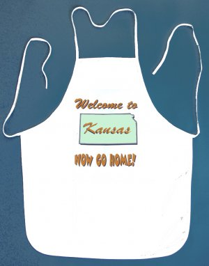 Welcome to Kansas Now Go Home Kitchen BBQ Barbeque Bib Apron White w/2 Pockets New