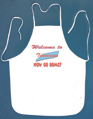 Welcome to Tennessee Now Go Home Kitchen BBQ Barbeque Bib Apron White w/2 Pockets New