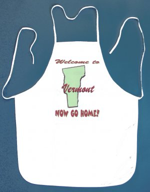 Welcome to Vermont Now Go Home Kitchen BBQ Barbeque Bib Apron White w/2 Pockets New