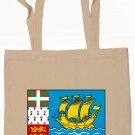 Saint Pierre and Miquelon Flag Souvenir Canvas Tote Bag Shopping School Sports Grocery Eco