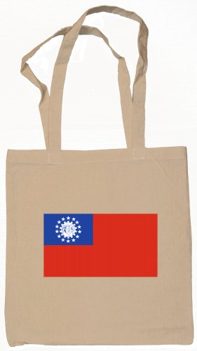 Myanmar  Flag Souvenir Canvas Tote Bag Shopping School Sports Grocery Eco