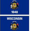 2 Wisconsin State Flag Stickers Decals Sticks to Almost Anything
