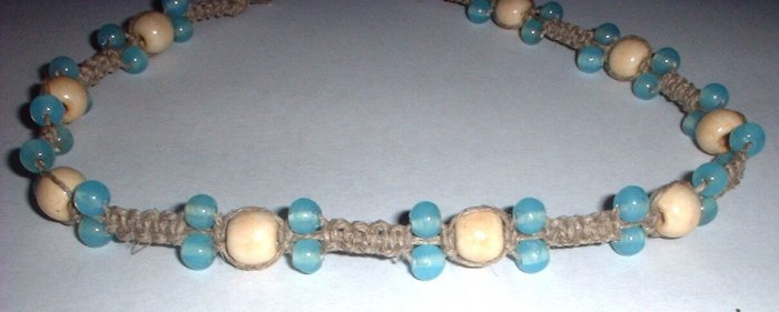 Turquoise and white bead Hemp choker necklace
