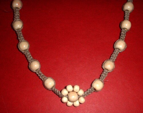 Hemp Flower Wood Bead Necklace Choker