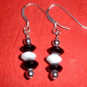 Black and White and Silver Earrings