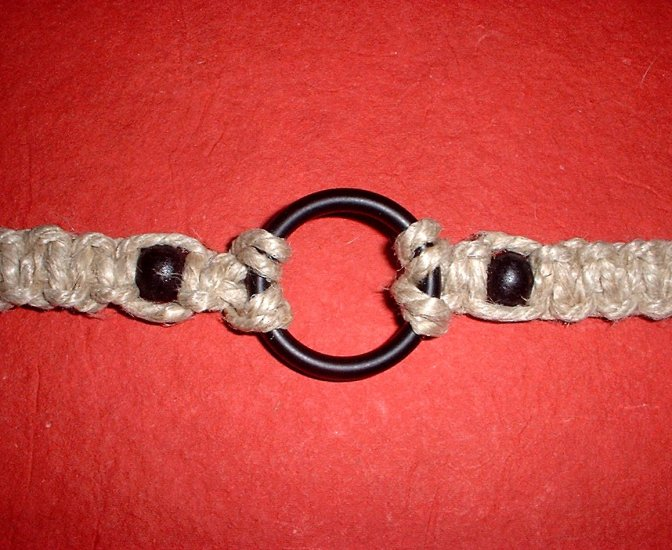 Thick Hemp Choker Necklace with Metal Ring