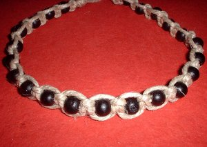Thick Hemp Choker Necklace with Black Wood Beads
