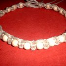 Thick Hemp Choker Necklace with White Wood Beads