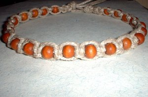 Thick Hemp Choker Necklace with Wood Beads