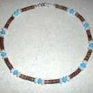 Heishi Bead Choker Necklace with Turquoise and White Glass beads