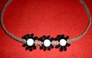 Black and White Hemp Flower Necklace Choker