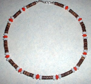 Heishi Bead Choker Necklace with Orange and White Glass beads