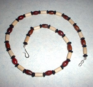 Wood and Glass Bead Necklace