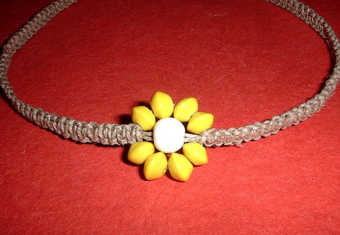 Hemp Choker Necklace with Yellow and White Glass bead Flower