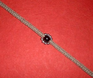 Hemp Choker Necklace with Wood and Metal Bead Flower