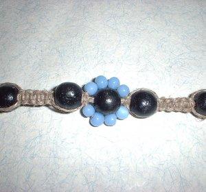 Hemp Jewelry Baby Blue Flower Choker Necklace Hippie