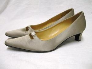 Gray Satin ELLEN TRACY Rhinestone Pumps Heels 7 B