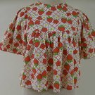 Adorable VINTAGE Strawberry Daisy Top Smock Shirt S M
