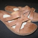 Cute Leather BORN Brown Leather Sandals Slides EUC! 6