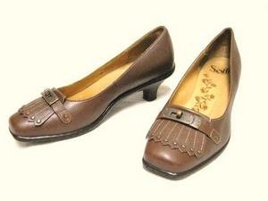 Cute Brown Leather SOFFT Kiltie Brass Trim Heels Shoes