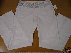 NEW NWT Womens DAVID BITTON Embroidered Waist Pants 10