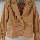 Pretty Peach Lacey Beaded BISOU BISOU Blazer Jacket 10