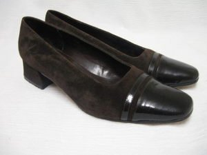 Brown Suede/Patent Leather VAN ELI Heels Shoes 6 M