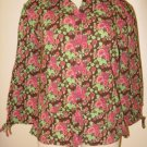 NWT Womens Floral Button Up FIELDGEAR Shirt Top Small