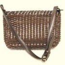 Woven Dark Brown Leather TALBOTS Handbag Purse
