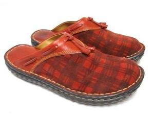 Red Suede PLAID Tassel BORN Blanket Mules Shoes 6 EUC!