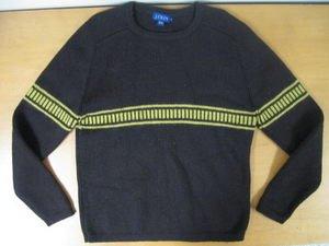 Mens Vintage J CREW Brown Stiped Wool Sweater L