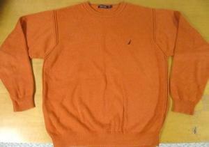 Mens Orange 100% Cotton NAUTICA Crewneck Sweater XL