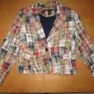 LARRY LEVINE Plaid Patchwork Blazer Jacket Coat 8 Cute!