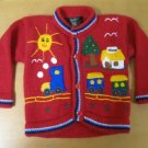 ADORABLE HANDMADE EMBROIDERED BUTTON UP SWEATER 2T NICE