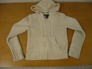 Ivory ABERCROMBIE & FITCH Hooded Pullover Sweater S