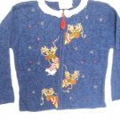 GIRLS REINDEER CHRISTAMS BELLS CARDIGAN SWEATER 12-14