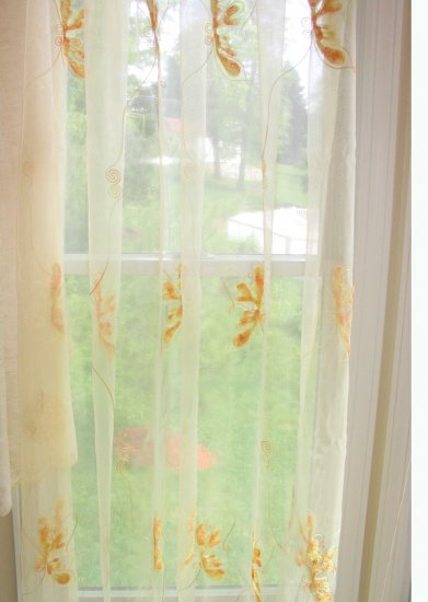 Embroidered Butterfly Sheer Panels - Light Yellow
