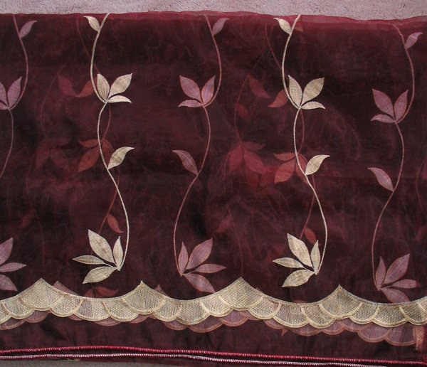 Scroll-embroidered Sheer Panels - Burgandy
