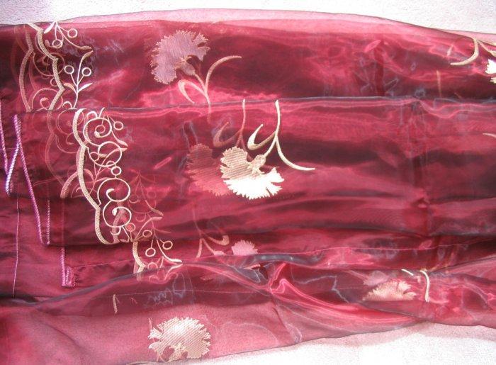 2 embroidered Sheer Panels - Burgandy